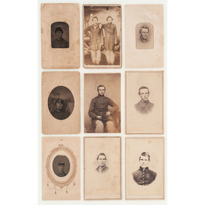 Nine Civil War CDVs of Soldiers, incl. Portraits Taken by Southern Photo Studios