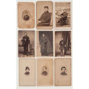 Nine Civil War CDVs of New England Soldiers, Incl. NY, NJ, and RI Studio Imprints