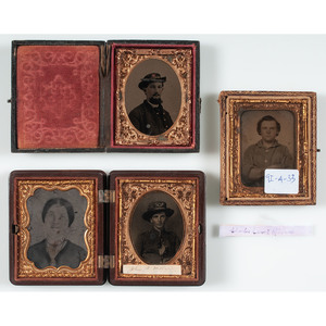 Three Ninth Plate Tintypes of Identified Union Soldiers