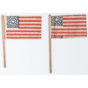 Two Small 36-Star Parade Flags with Rare Star Patterns