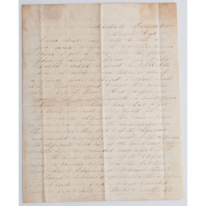 Indian Conflicts upon Minnesota Statehood, 1858 Letter with Outstanding Content including Account of Sioux Scalp Dance, Plus Chippewas and Winnebagos