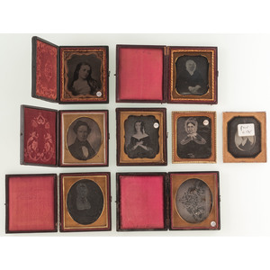 Remarkable Group of Cased Images of Folk Art Paintings, Incl. 13 Daguerreotypes.