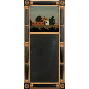 American Federal-Style Mirror with Reverse Painted Scene