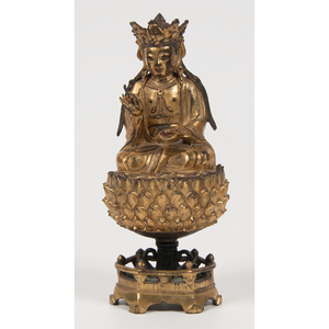 Chinese Gilt Bronze Guanyin Figure 銅鎏金觀音坐像