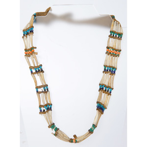 Northern Plains Dentalium and Buffalo Hide Necklace