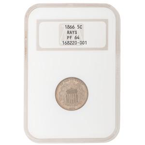 United States Shield Nickel 1866, NGC PF64