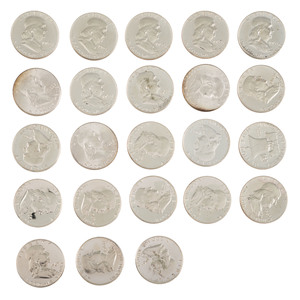 United States Benjamin Franklin Half Dollars and Proofs, Lot of 23