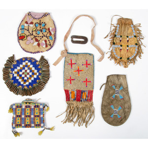 Collection of Plains Beaded Hide Pouches