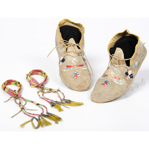 Eastern Plains Quilled Hide Moccasins and Quilled Armbands