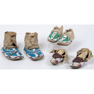Sioux and Cheyenne Beaded Hide Child's Moccasins
