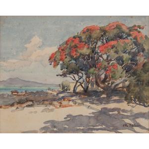 New Zealand 20th Century Landscape Watercolors, Lot of Five