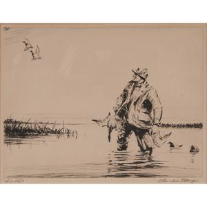 Churchill Ettinger (American, 1903-1984) Etchings, Plus, Lot of Three
