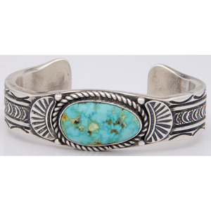 Eugene Hale (Dine, 20th century) Navajo Sterling Silver and Turquoise Cuff Bracelet