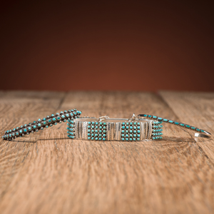 Zuni Silver and Turquoise Petit Point Bracelets