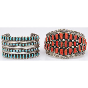 Navajo Silver, Turquoise, and Coral Cuff Bracelets