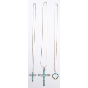 Cecilia Iule (Zuni, 20th century) Silver and Turquoise Cross Pendant PLUS
