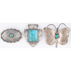 Silver and Turquoise Curio Pins