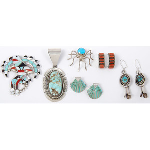 A Collection of Zuni and Navajo Earrings, Pendants, and Pins