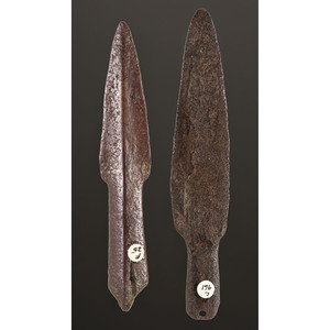 A Pair of Old Copper Culture Socketed Spear Points, Longest 5-5/8 in.