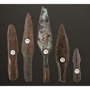 A Collection of Old Copper Culture Socketed Spear Points, Longest 5-1/8 in.