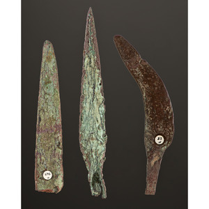 A Collection of Old Copper Culture Knives and Spear Points, Longest 7 in.