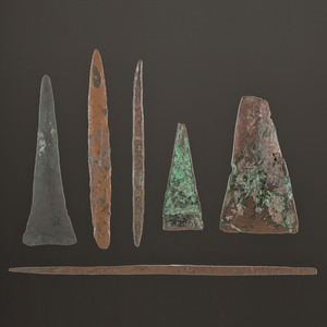 A Group of Old Copper Culture Tools, Longest 7-5/8 in.