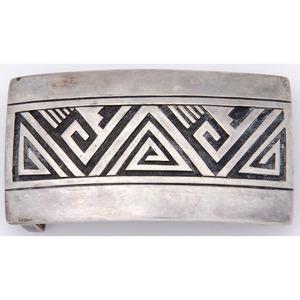 Victor Coochwytewa (Hopi, b. 1922) Silver Overlay Belt Buckle