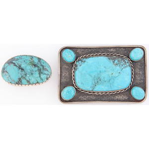 Silver and Turquoise Belt Buckle and Tie Pin
