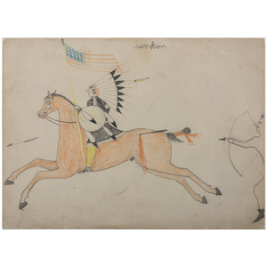 Attributed to Goes-To-War (Brule Lakota, 19th century), Colored Pencil on Paper, From the James B. Scoville Collection