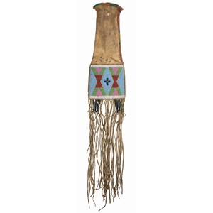 Apsaalooke [Crow] Beaded Hide Tobacco Bag, From the James B. Scoville Collection