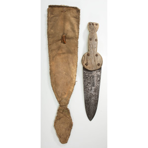 Blackfeet Beaded Hide Knife Sheath with I & H Sorby Dag Knife, From the James B. Scoville Collection