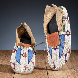 Arapaho Beaded Buffalo Hide Moccasins, From the James B. Scoville Collection