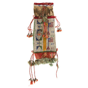 Sioux Beaded Hide Tobacco Bag with American Flags, From the James B. Scoville Collection