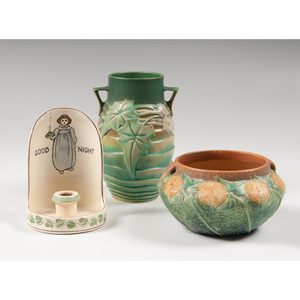 Roseville Pottery Vases and Chamberstick