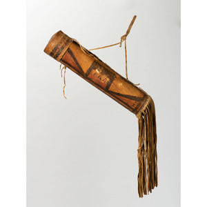 Early Jicarilla Apache Buffalo Hide Parfleche Cylinder, From the James B. Scoville Collection