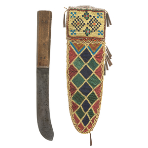 Cree Beaded Hide Knife Sheath with Thomas Wilson Knife, From the James B. Scoville Collection