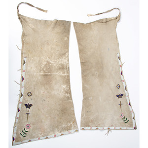 Northern Plains Beaded Hide Leggings, with Butterflies and Dragonflies