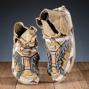 Southern Cheyenne Beaded Hide Moccasins, From the James B. Scoville Collection