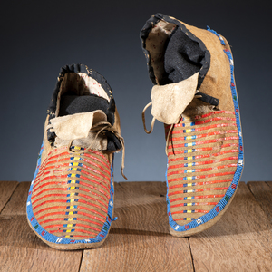 Sioux Quilled and Beaded Hide Moccasins, From the James B. Scoville Collection