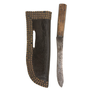 Blackfeet Tacked Knife Sheath and Knife, From the James B. Scoville Collection