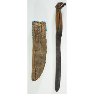 Sioux Beaded Hide Knife Sheath with Knife, From the James B. Scoville Collection