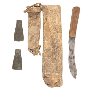 Plains Hide Knife Sheath with Knife and Wet Stones, From the James B. Scoville Collection