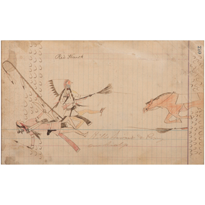 Red Hawk (Oglala Lakota, 19th century) Colored Pencil and Ink on Ledger Paper, From the James B. Scoville Collection
