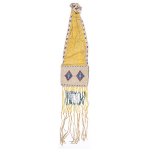Plains Beaded Hide Tobacco Bag, Deaccessioned From the Hopewell Museum, Hopewell, NJ
