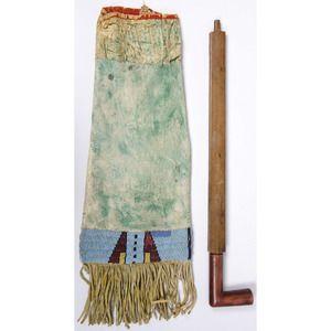 Plains Beaded Hide Tobacco Bag with Pipe, Deaccessioned From the Hopewell Museum, Hopewell, NJ
