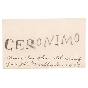 Geronimo Autographed Card with Provenance