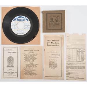 Ku Klux Klan, Collection of Books, Posters, and More, Incl. 1921 Constitution