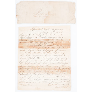 Indian Wars Letter of Recommendation Written for a Brule Sioux at Spotted Tail Agency Just Weeks After Little Bighorn