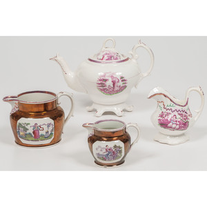 Lusterware Faith, Hope, & Charity Teapot and Pitchers
