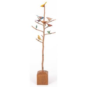 Folk Art Bird Tree, Signed Carlton